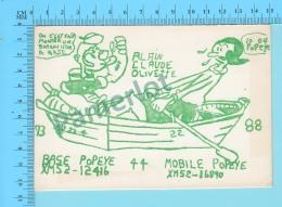 QSL- CB- Base  Mobile Popeye, Olive  - Montreal Quebec- 2 Scans - CB