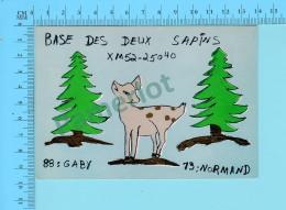 QSL- CB- Base Des Deux Sapins, Chevreuil  - Montreal Quebec- 2 Scans - CB
