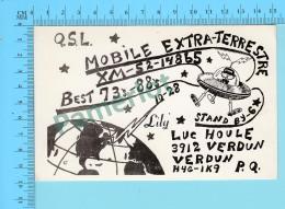 QSL- CB- Mobile Extra-terrestre, Soucoupe Volante - Verdun Quebec- 2 Scans - CB