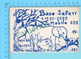 QSL- CB- Base Safary, Elephant - Montreal Quebec- 2 Scans - CB