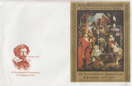 Enveloppe  FDC   CUBA    Bloc  FEUILLET  Oeuvre  De  RAPHAEL   1977 - FDC