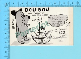 QSL- CB- Base & Mobile Bou Bou, Yogi Bear -Ste-Marie Salomé  Quebec- 2 Scans - CB