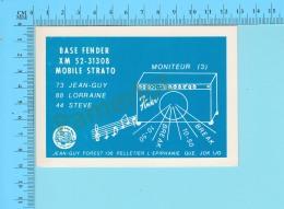 QSL- CB- Base Fender Mobile Strato, Emplificateur - L'Epiphanie Quebec- 2 Scans - CB