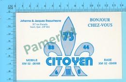 QSL- CB-  Base Du Citoyen Fleurs De Lys  - Sorel Quebec- 2 Scans - CB