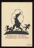GERMANIA  ANNI 50 ILLUSTRATORE NON CLASSIFICATO - BAMBINO CON CANE. FORMATO GRANDE (8) SILHOUETTE - Siluette