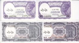 EGYPT 5 10 PT. PIASTRES 1971 P-182h 183h SIG/megiud LOT 2 SETS  UNC DIFF COLORS Cv=$6.00 */* - Egypt