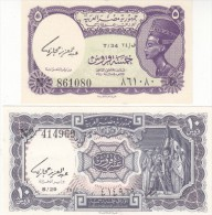 EGYPT 5 10 PIASTERS 1971 P-182a 183a SIG/hegazy LOT SET UNC Cv=$65.00 WM: U A R - Egypt