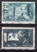 FRANCE 1936 / 1937 -  Y.T. N° 336 SANS GOMME ET 337 OBLITERES - Oblitérés