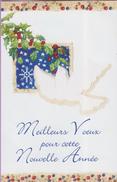Voeux °° Nouvel An – Colombe Et Houx - écrite 10x14 Cm - New Year