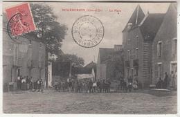 Bourberain (Côte-d' Or) - La Place - Très Animée - 1906 - Aubert, éditeur - Francia