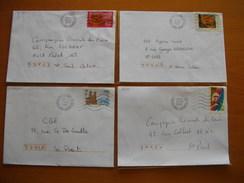 Réunion : Quatre Lettres De 2002 Avec Oblitérations Mécaniques Type Lignes Ondulées De Bois De Nèfles Saint-Paul