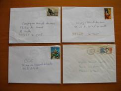 Réunion : 4 Lettres Avec Oblitérations Mécaniques Lignes Ondulées De La Possession Et  Affranchissements Philatéliques