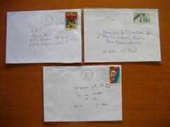 Réunion : 3 Lettres Avec Oblitérations Mécaniques Type Lignes Ondulées De La Montagne Réunion  (1990 Et 2002)