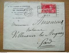 Enveloppe Avec Timbre Des JO De 1924 De 4 Mai Au 27 Juillet 1924 Y&T N° 184 Avec Oblitération  Cote 600 €