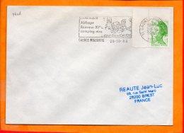 """Aude, Caunes Minervois, Flamme SCOTEM N° 9406, """"abbaye Romane XIe S C'est Dans L'Auded"""" - Postmark Collection (Covers)"""