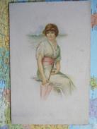 Jeune Femme à L'ombrelle Assise Carte De Voeux - 1900-1949