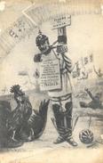 Illustration Gaston C... Août 1914: Dessin D'un Prussien Au Pilori Du Monde (Casque à Pointe) - Satira