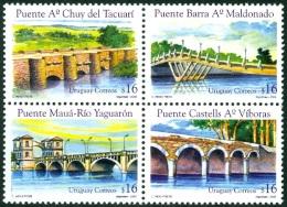 URUGUAY 2005 BRIDGES BLOCK OF 4** (MNH) - Uruguay