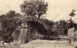 """CPA   34   RUINES DU PONT ROMAIN DE ST-THIBERY---ENV. DE PEZENAS---TAMPON """" ......DEPOT """"----1915 - Other Municipalities"""