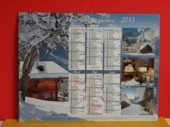 Calendrier Oller > Chamonix 74,Bonneval Sur Arc 73 - Village Et Montagne Suisse - Almanach Facteur 2015 Comme Neuf - Calendriers