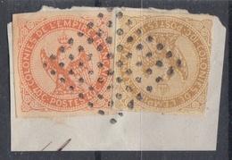 #114# COLONIES GENERALES N° 3 Et 5 Oblitéré Sur Fragment Losange Gros Points (Réunion) - Aigle Impérial