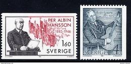 SWEDEN 1985 Birth Centenaries MNH / **.  Michel 1349-50 - Unused Stamps
