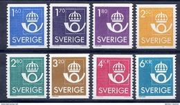 SWEDEN 1985-87 Crown And Posthorn Definitive Set MNH / **.  Michel 1316-18, 1379-80, 1420-22 - Sweden