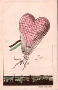 ! Alte Ansichtskarte Liebe, Love, Ballon, Herz, 1910, Künstlerkarte Sig. E. Breitling, Leipzig, Sachsen - Globos