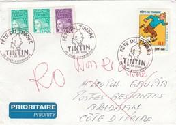 Yvert 3303 Tintin + Marianne De Luquet Sur Lettre Cachet FDC PRAT BONREPAUX Ariège 11/3/2000 Pour Côte D'Ivoire - FDC