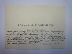 CARTE De VISITE  :  L'ABBé  J. PAMBRUN  Curé De SARROUILLES  (Hautes-Pyrénées)   - Cartes De Visite