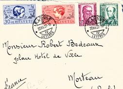 SUISSE LETTRE 1937 SERIE PROJUVENTUTE LE LOCLE  POUR FRANCE - Schweiz