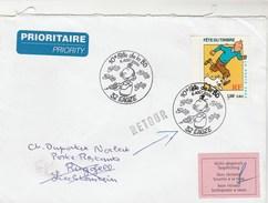 Yvert 3303 Tintin  Sur Lettre Cachet Illustré 10è Fête De La BD EAUZE GERS 6/8/2000 Pour Liechtenstein - Bandes Dessinées