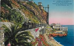 CARTE POSTALE ORIGINALE ANCIENNE : GRIMALDI VINTIMIGLIA ; FRONTIERE ; TRAIN LOCO VAPEUR ; HOTEL ; ALPES MARITIMES (06) - Francia