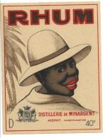 """Ancienne étiquette Rhum  Distillerie De Minargent Aulnay Charente Maritime  """"visage Homme Chapeau"""" Superbe étiquette - Rhum"""