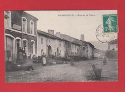 """CPA Animée""""REMOVILLE"""" Vosges""""RUE DE LA VAUX""""boulangerie""""recette""""buraliste""""oblitération Remonville Timbre 5 Centimes 1912 - Other Municipalities"""
