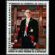 DAHOMEY 1967 - Scott# C62 De Gaulle Set Of 1 MNH