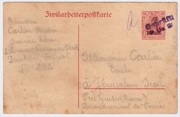 "Etapes, 1917, "" Zivilarbeiterpostkarte "" , Destination Rare !! #7084 - Weltkrieg 1914-18"