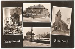 Leerbeek - Groeten Uit Leerbeek - Echte Photo - Uitgave E.D.W. Kester - Multivues Kerk, Gemeentehuis, Tramstatie - Gooik