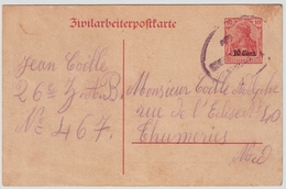 "Etapes, 1917, "" Zivilarbeiterpostkarte "" , #7086 - Weltkrieg 1914-18"