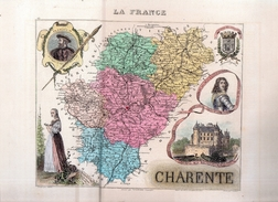 Carte A.Vuillemin-Migeon.Département:Charente.34,5 X 26,1 Cm.rehaussée En Couleurs.gravé Par Alès. - Geographical Maps