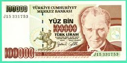100000 Lirasi - Yuz Bin  - Turquie - 1970 - N°. J15331753 - Sup - Turquie