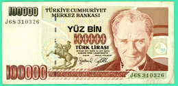 100000 Lirasi - Yuz Bin  - Turquie - 1970 - N°. J68 310326 - TB+ - - Turquie