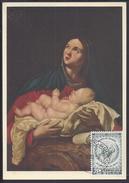 """BELGIQUE - Carte Maximum """" La Vergine Col Figlio """" Cachet Bruxelles 10-12-1958 - 2 Scans - - Maximumkarten (MC)"""