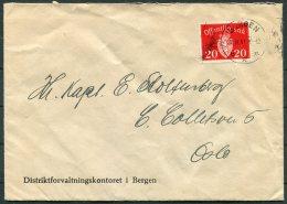 1941 Norway Bergen Official Distriktforvaltningskontoret Cover - Norway