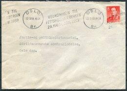 1959 Norway Oslo Cover, Velkommen Festspillens Bergen - Justis Politidepatementet, Sivilforsvarets - Norway