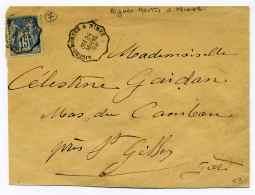 Convoyeur Ligne AIGUES MORTES A NIMES  Type 2 Ref Pothion N°49  / 1892 - Poststempel (Briefe)