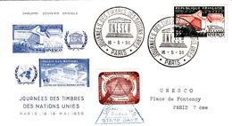 FRANCE 1959 LETTRE - OBLITERATION RONDE JOURNEE DES TIMBRES DES NATIONS UNIES UNESCO PARIS 16.5.59 - Briefe U. Dokumente