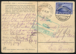 Card Sent By ZEPPELIN From Friedrichshafen To Buenos Aires On 39/AU/1931, Franked By Sc.C41 (2Mk. Polar Fahrt,... - Germany