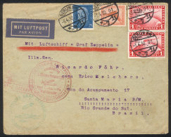 Cover Flown By Zeppelin, Sent From Berlin To Brazil On 3/AP/1932 Franked With 2.75Mk. Including Sc.C40 X2 (1Mk.... - Germany