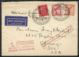"""Catapult Flight From Ship """"Europa"""", Cover Sent To USA On 1/JUN/1932, With Special Cancels And Markings, VF Quality! - Germany"""